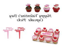 Happy Valentine's Day Cupcake Picks - 24 pcs