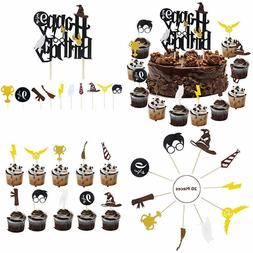 Harry Potter Inspired Happy Birthday Cake Topper & Cupcake T