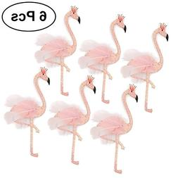 LUOEM Hawaii Flamingo Cake Cupcake Toppers with Toothpick We