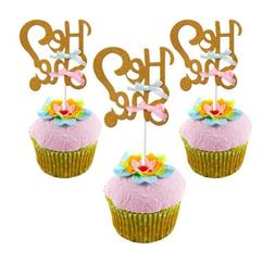He or She Cake Toppers Cupcake Newborn Baby Shower Gender Re