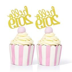 Hello 2019 Cupcake Toppers Gold - 50PCS New Years Eve Decora