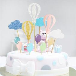 Hot Air Balloon Cupcake Toppers Cloud Kids Cake Party Suppli