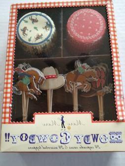 Meri Meri Howdy Cowboy Cupcake Kit 24 LIners & Toppers Weste