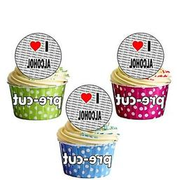 I Love Alcohol - 24 Edible Cupcake Toppers Cake Decorations