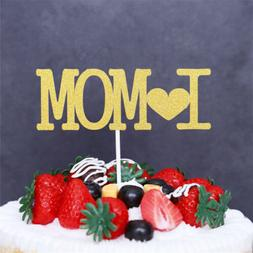 I love mom cupcake cake toppers cake flags mother's day birt
