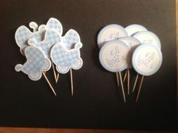 It's A Boy Cupcake Topper Picks x 12 - 2 Designs Maternity/