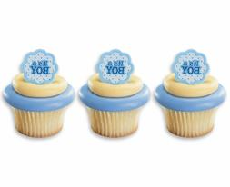 ITS A BOY CUPCAKE RINGS TOPPERS CAKE DECORATIONS PARTY FAVOR