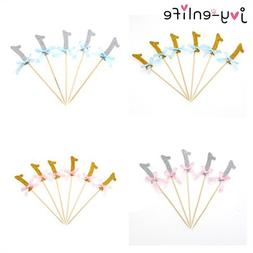 JOY-ENLIFE 12pcs Sparkling 1st Birthday Blue/Pink Ribbon <fo