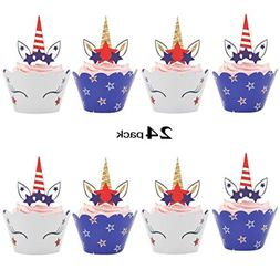 july cupcake wrappers unicorn