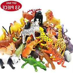 Jungle Animal Figures Toy Set - 53 Piece Plastic Mini Educat