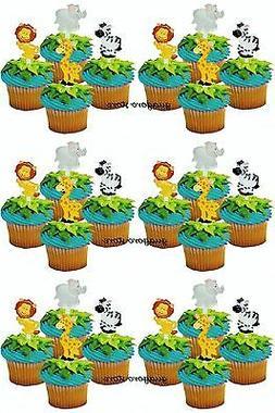 Jungle Safari NOAH'S Cupcake Picks 24 Animal Cake Toppers Bi