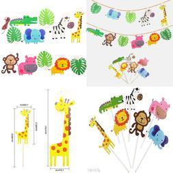 Kapoklife 28 Pack Cute Zoo Animal Cupcake Toppers Picks Jung