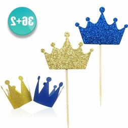 Kapoklife 36-Pack Blue And Gold Crown Cupcake Toppers Picks,