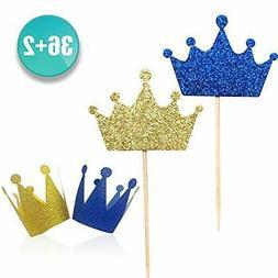 Kapoklife wxy 36-Pack Blue and Gold Crown Picks, Royal Princ