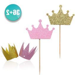 Kapoklife wxy 36-Pack Pind and Gold Crown Picks, Cupcake Top