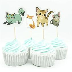 Pack of 24 Kittens Cats Kitty Cupcake Topper Picks Party Dec