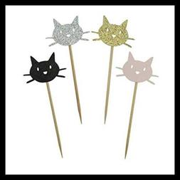 Kitty Cat Cupcake Toppers Shiny BLACK GOLD SILVER & PINK Cut