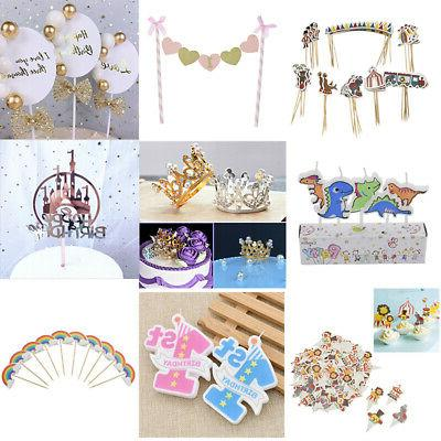 1 100pcs cake toppers animal crown birthday