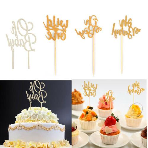 1/10pcs Oh Baby Boy Cake Topper Baby Shower Girl Cupcake Dec