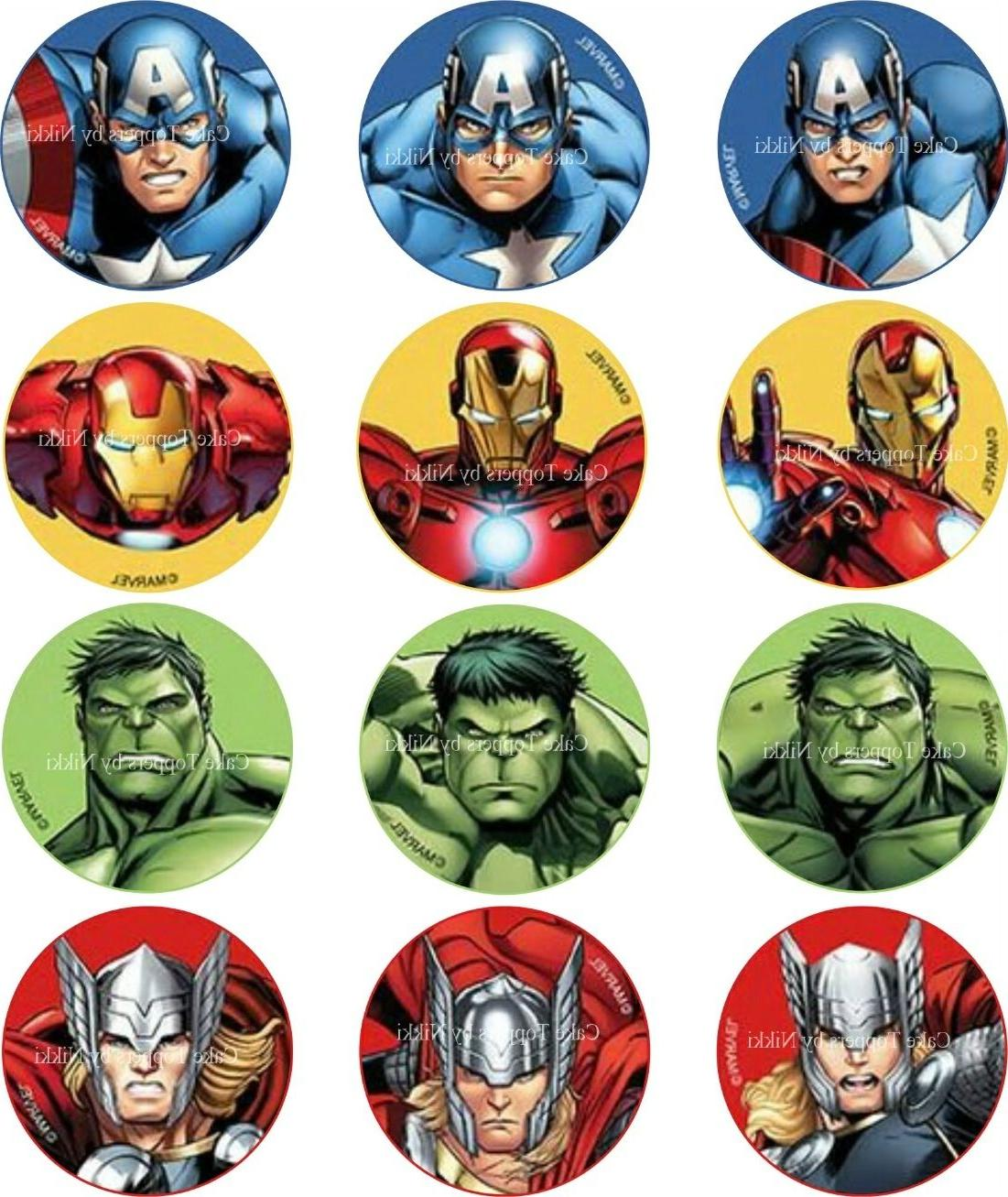"""1.5"""" Precut Icing Cupcake Toppers Avengers Cupcake Toppers H"""