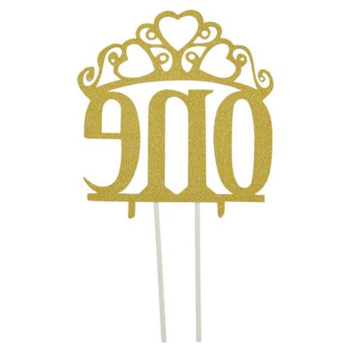 1 Pc Gold  Glitter Crown One Cake Cupcake Toppers Birthday W