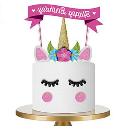 1Set Handmade Unicorn Cake Cupcake Topper Decoration Birthda
