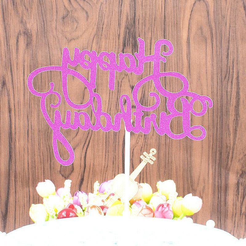 10 pcs Glitter Paper Happy Birthday Cupcake Dessert Decor Supplies