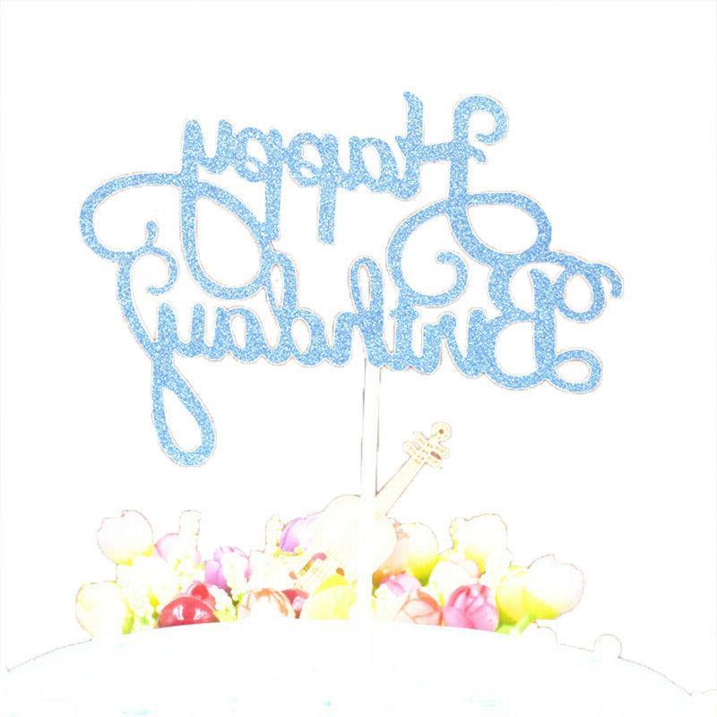 10 pcs Glitter Happy Cake Topper Cupcake Decor