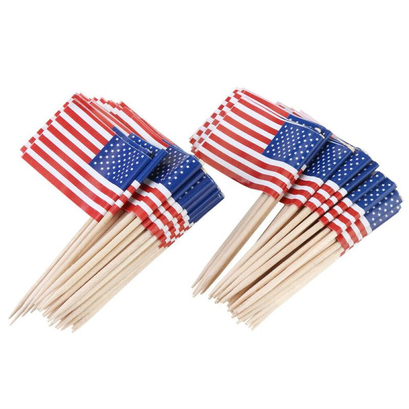 100Pcs American USA US Flag Party Toppers Picks