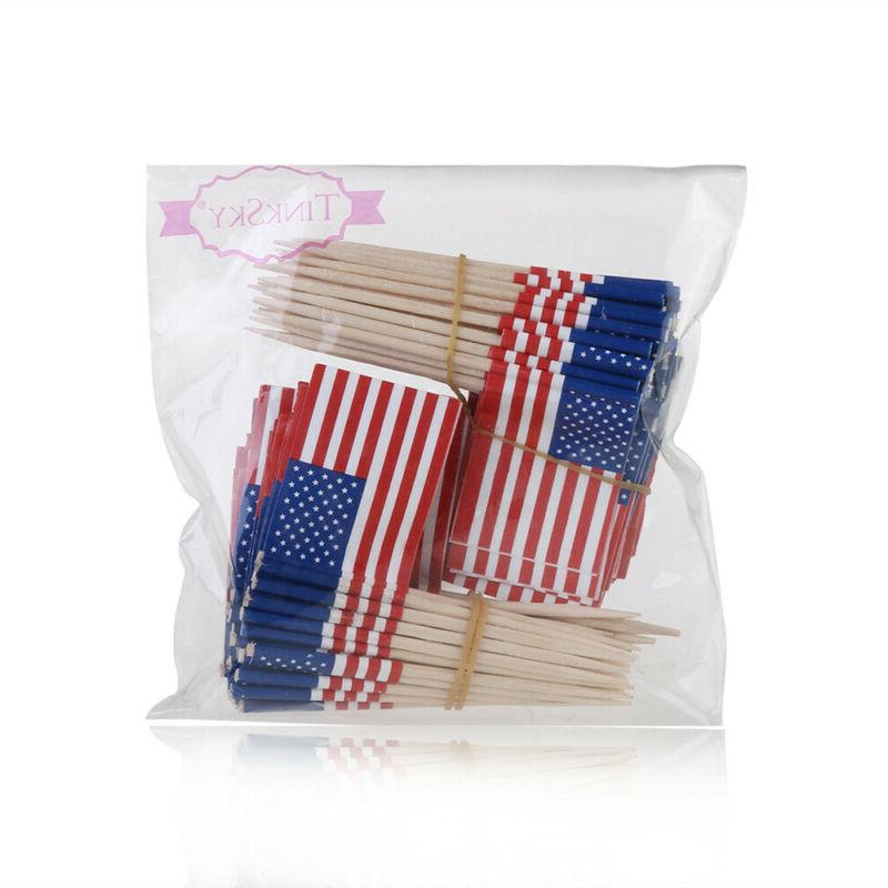 100Pcs American Sticks US Party Toppers Cocktail Picks