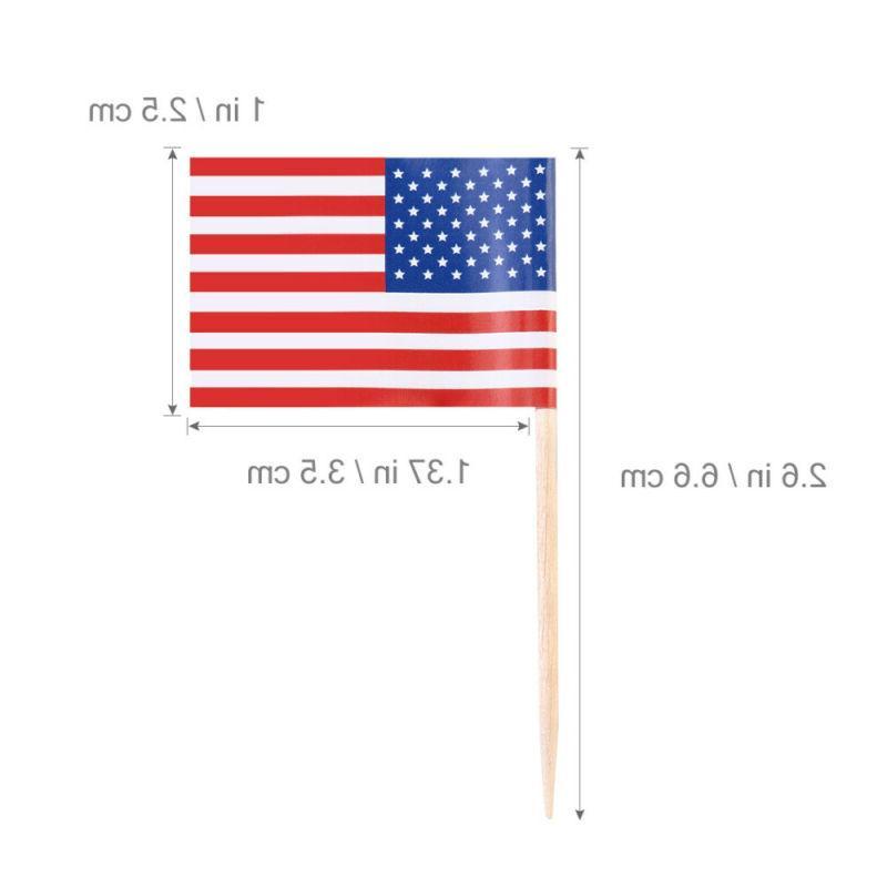 100Pcs American USA Sticks US Toppers Picks