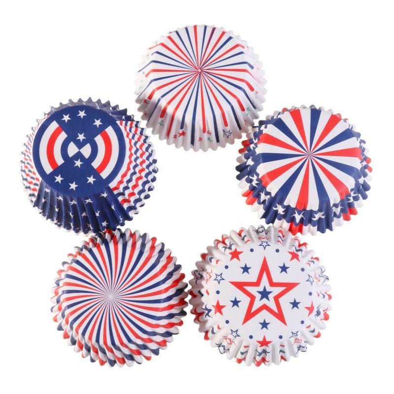 100Pcs/Lot 4th of Cupcake Patriotic Cupcake Topper Decor