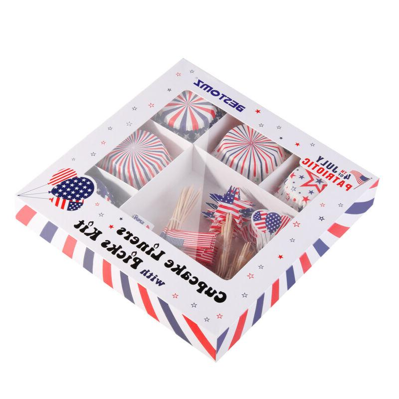 100Pcs/Lot Cupcake Liners Patriotic Topper