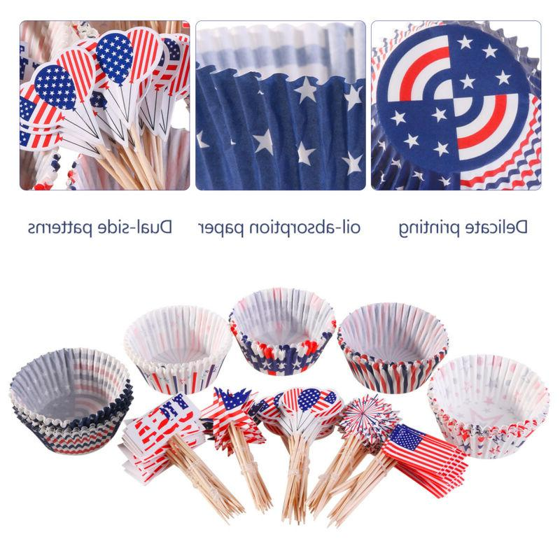 100Pcs/Lot of July Cupcake Liners Topper Cake Decor