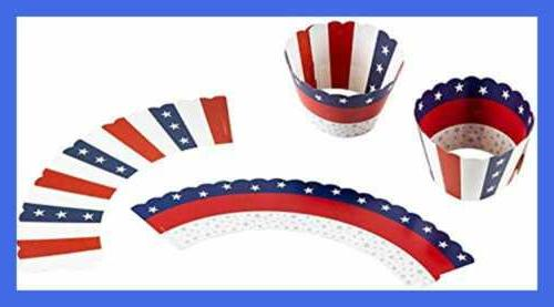 102 PC Toppers & Flag Wrap RED BLUE