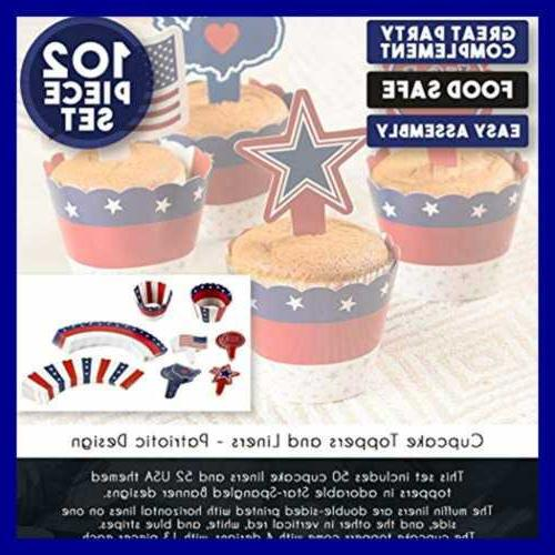 102 PC Patriotic Toppers Liners American Flag Wrap RED BLUE