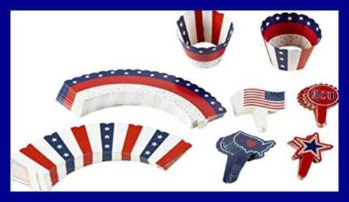 102 pc patriotic cupcake toppers and liners
