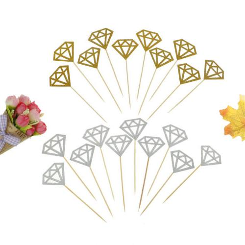 10pcs Cupcake Toppers Glitter Diamond for Cupcake Decor Brid