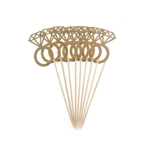10pcs Diamond Ring Toppers Wedding Party Table Decorations