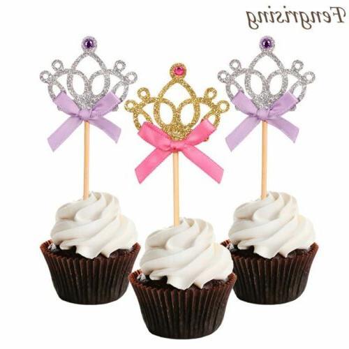 10Pcs Glitter Crown Cupcake Toppers Wedding Birthday Princes