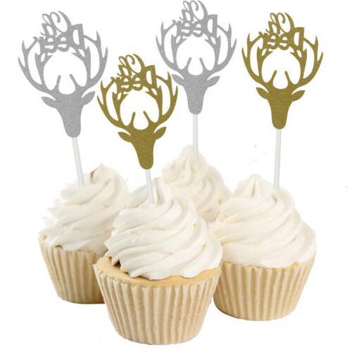 10pcs Glitter Deer Head Cupcake Topper Christmas Winters Par
