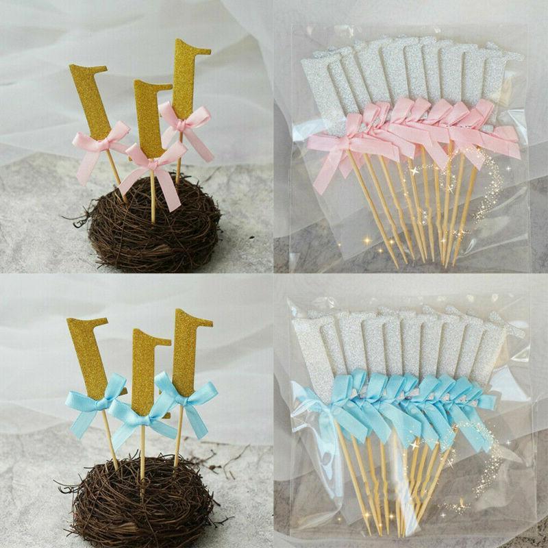 10Pcs Glitter Cake Boy Party Decoration