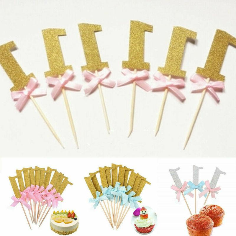 10Pcs First Birthday Cake Cupcake Baby Boy Girl Party