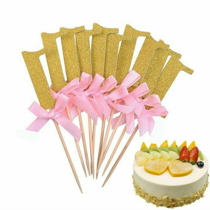 10Pcs Glitter Cake Cupcake Boy Girl