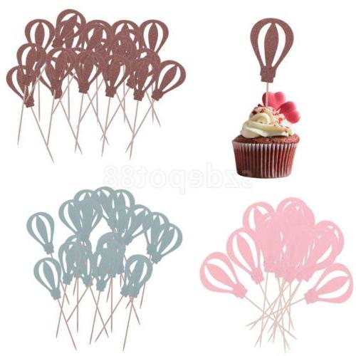 10pcs Hot Air Balloon Cupcake Picks Cake Toppers Party Decor
