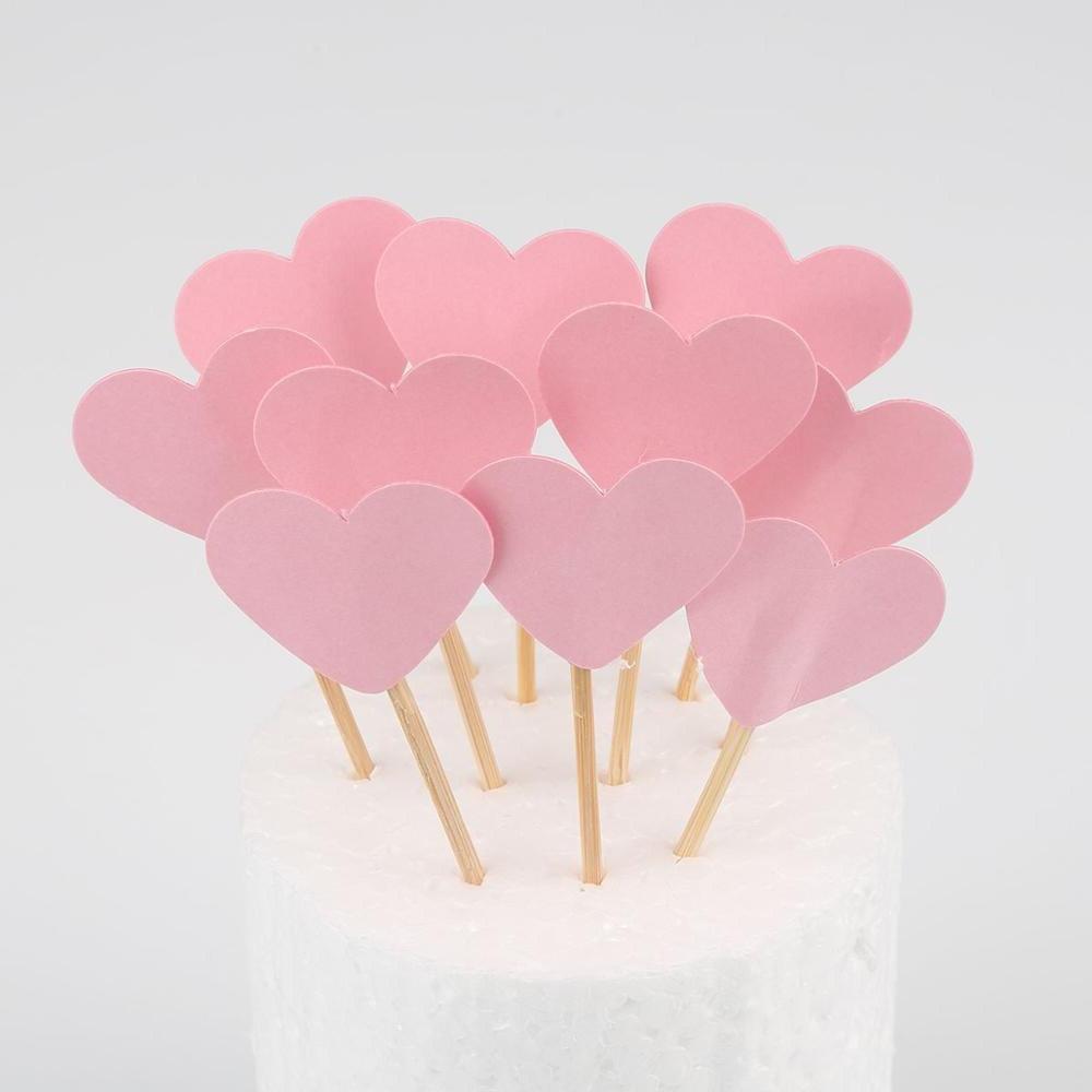 10pcs Heart <font><b>Cupcake</b></font> <font><b>Toppers</b></font> <font><b>Topper</b></font> Decorating Kids Wedding Shower
