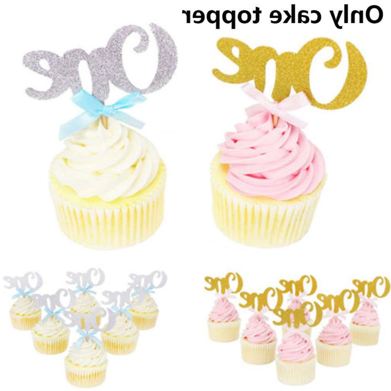 10pcs One Cupcake Toppers Shower Wedding Decors