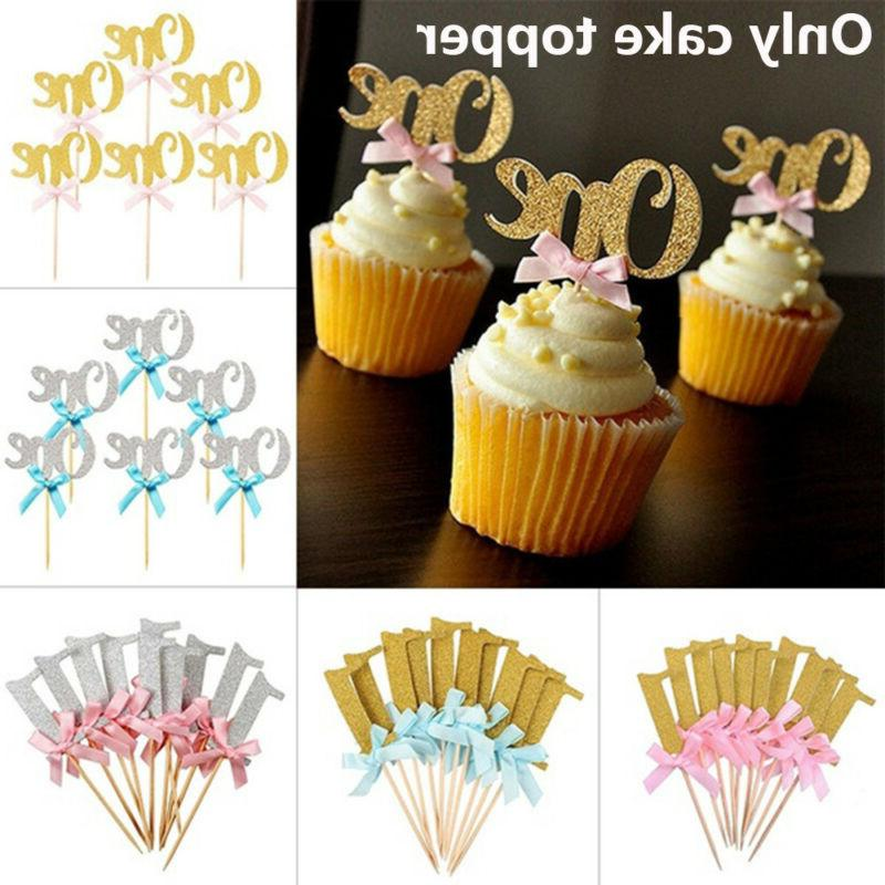 10pcs one year birthday cupcake toppers party