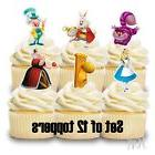 12- ALICE IN WONDERLAND Cupcake Toppers / Cake Toppers / Bir