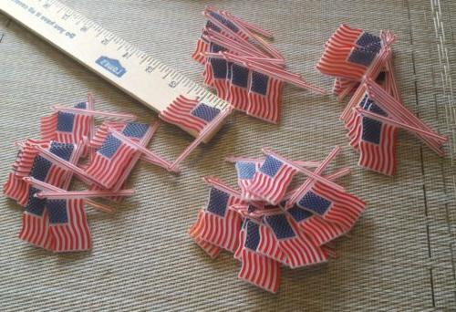 12 american flag plastic cupcake picks toppers